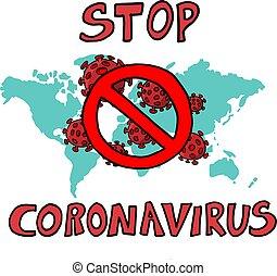 Coronavirus Asian flu ncov over Earth background. Concept of...