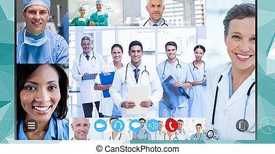 coronavirus, atención sanitaria, vídeo, llamada, epidemia, covid19, durante, trabajadores