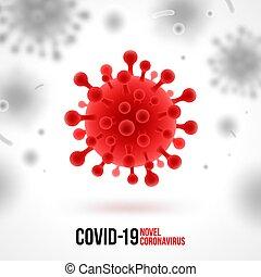Coronavirus background. Red virus symbol on white background. Novel coronavirus 2019-nCoV illustration. Concept of dangerous Covid-19 pandemic. Vector design.