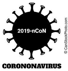 coronavirus, bacterias, silueta, design., negro, pathogenic, (2019-ncov)