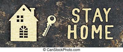 coronavirus, bandera, ministerio del interior, cuarentena, epidemia, concepto, lockdown, tela, estancia, hogar