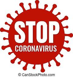 coronavirus, bandera, parada, fondo blanco