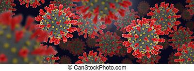 coronavirus, bannière, large, infectieux, éruption, render, 3d, concept