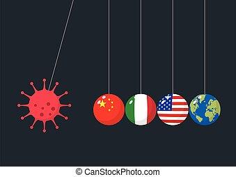 coronavirus, berceau, balles, équilibrage, newtons, concept