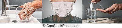 coronavirus, brote, doctor, header., cara, bandera, esparcimiento, corona, frotamiento, prevención, jabón, virus, pandemia, máscara, panorámico, higiene, mano, sanitizer, hombre, manos, china, lavado, utilizar, gel, contra, llevando
