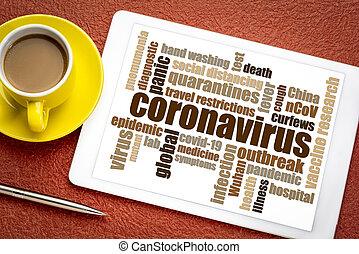 coronavirus, brote, tableta, palabra, nube