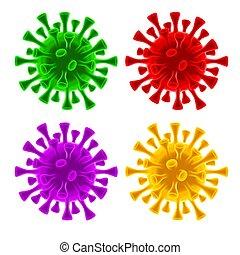 coronavirus, células, conjunto, virus, covid-19