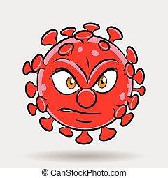 coronavirus, caricatura, enojado, rojo