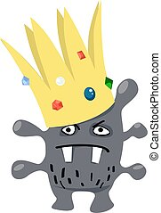 Cartoon virus wearing a crown, representing a coronavirus or a superbug, EPS 8 vector illustration