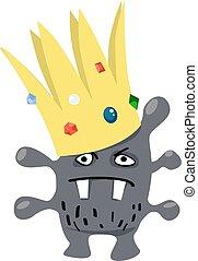 Cartoon virus wearing a crown, representing a coronavirus or a superbug, EPS 8 vector illustration