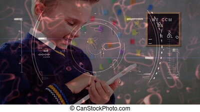 Animation of Covid 19 coronavirus cell spinning, scope scanning with Welcome Back To School over schoolboy with tablet. Education back to school coronavirus pandemic concept digitally generated image.