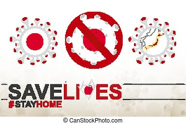 Coronavirus cell with Japan flag and map. Stop COVID-19 sign, slogan save lives stay home with flag of Japan