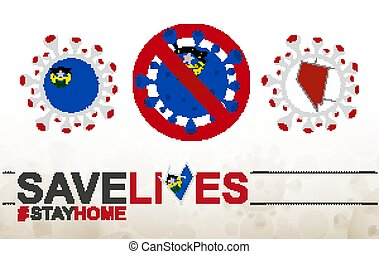 Coronavirus cell with US State Nevada flag and map. Stop COVID-19 sign, slogan save lives stay home with flag of Nevada