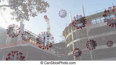 Animation of macro Coronavirus cells spreading over a crane on building construction site in a city street. Coronavirus Covid 19 pandemic concept digitally generated composite.