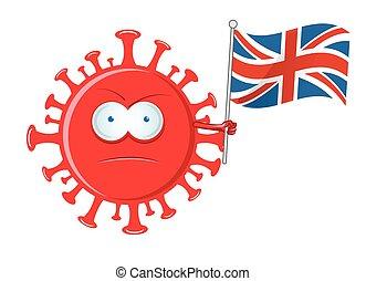 coronavirus character cartoon with flag england
