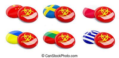 Coronavirus China, Greece, Poland, Ukraine ,Sweden, Lithuania on a white background 3D illustration