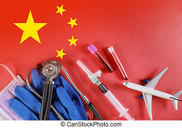 Coronavirus chinese infection, planes fly to Coronavirus infected blood over flag of China. 2019-nCoV