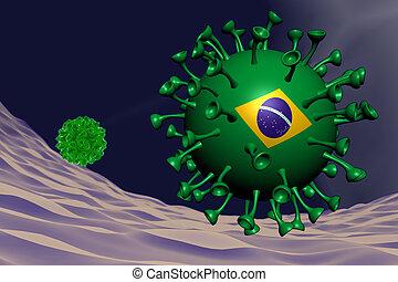 coronavirus close-up with Brasilian flag inside-it, variant concept