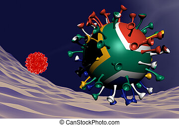 coronavirus close-up with South Africa flag inside-it