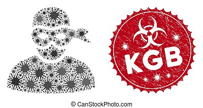 Coronavirus Collage Anonimious Thief Icon with Grunge KGB Seal