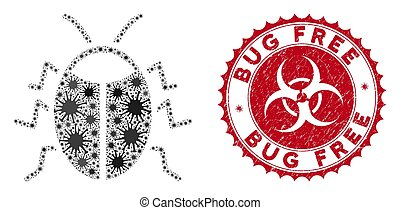 Coronavirus Collage Bug Icon with Scratched Bug Free Stamp