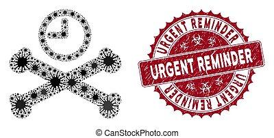 Coronavirus Collage Deadline Timer Icon with Grunge Urgent Reminder Stamp