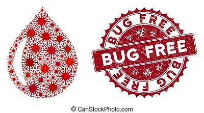 Coronavirus Collage Drop Icon with Textured Bug Free Seal
