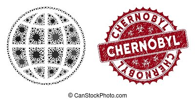 Coronavirus mosaic internet icon and round grunge stamp watermark with Chernobyl text. Mosaic vector is created with internet icon and with random pandemic objects.