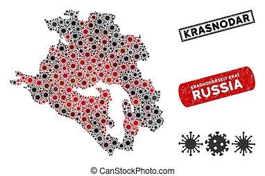 Coronavirus Collage Krasnodarskiy Kray Map with Distress ...