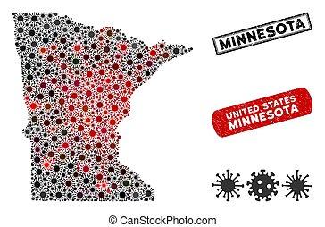 Coronavirus Collage Minnesota State Map with Grunge Stamps
