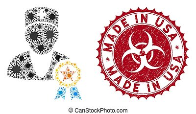 Coronavirus Collage Recommended by Doctors Icon with Grunge Made in USA Stamp