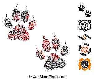 Coronavirus Collage Tiger Footprints Icon