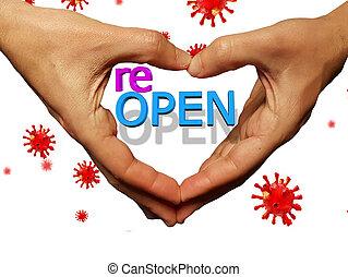coronavirus, como, reopen, dedos, corazón, abrir las manos, después, covid-19