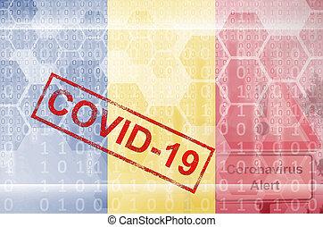 coronavirus, composición, stamp., brote, rumania, digital, concepto, resumen, bandera, covid-19, futurista