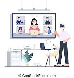 coronavirus, concept., ビジネス, 発生, 家, テレコンファレンス, デザイン, 。, ...