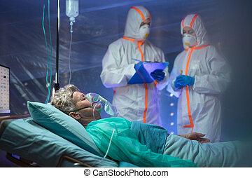 coronavirus, concept., hôpital, patient, quarantaine, ...