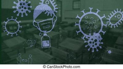 Coronavirus concept icons against empty classroom