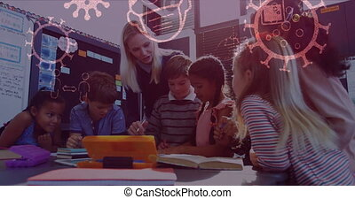 Animation of Covid 19 cells and icons floating over schoolchildren with their female teacher in class. Global coronavirus Covid 19 pandemic concept digitally generated image.