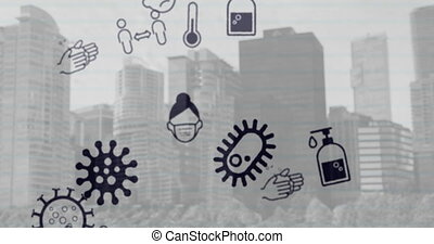 Animation of multiple Covid 19 coronavirus icons moving over cityscape in the background in black and white. Global coronavirus Covid 19 pandemic concept digitally generated image.