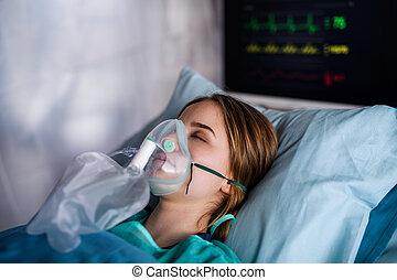 coronavirus, concept., nemocnice, pacient, karanténa, ...