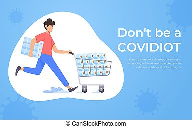 coronavirus, concept., papel, hogar, servicio, corriente, paper., quarantine., tranvía, arriba, empujar, 2020, pánico, lleno, covidiot, hombre, supermercado, media