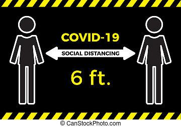 coronavirus, concept., pieds, vecteur, apart., distancing, icône, social, plat, séjour, illustration, six, covid-19, virus