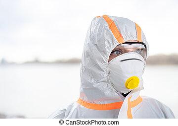 coronavirus, concept., protector, aire libre, posición, ...
