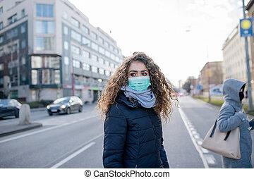 coronavirus, concept., protezione, prevenzione, città