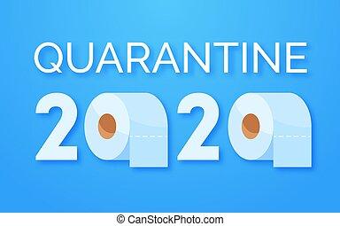 coronavirus, concept., rollos, outbreak., papel, hogar, servicio, quarantine., media, cartas, arriba, 2020, pánico, plano de fondo, covid-19, azul
