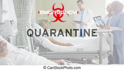 Animation of Covid 19 coronavirus text and biohazard symbol warning over male patient in hospital bed. Global Covid 19 pandemic concept digitally generated image.