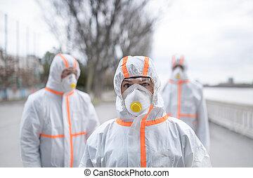 coronavirus, concept., trajes, gente, protector, ...