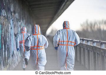 coronavirus, concept., trajes, gente, trasero, protector, ...