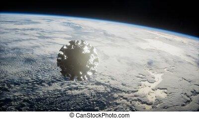 Coronavirus COVID-19 asteroid near Earth. elements furnished...