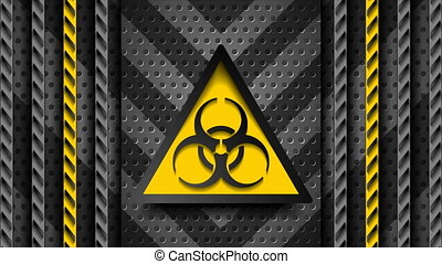 Coronavirus COVID-19 quarantine abstract tech motion background. Orange danger tapes and biohazard metallic sign on dark perforated backdrop. Seamless looping. Video animation Ultra HD 4K 3840x2160